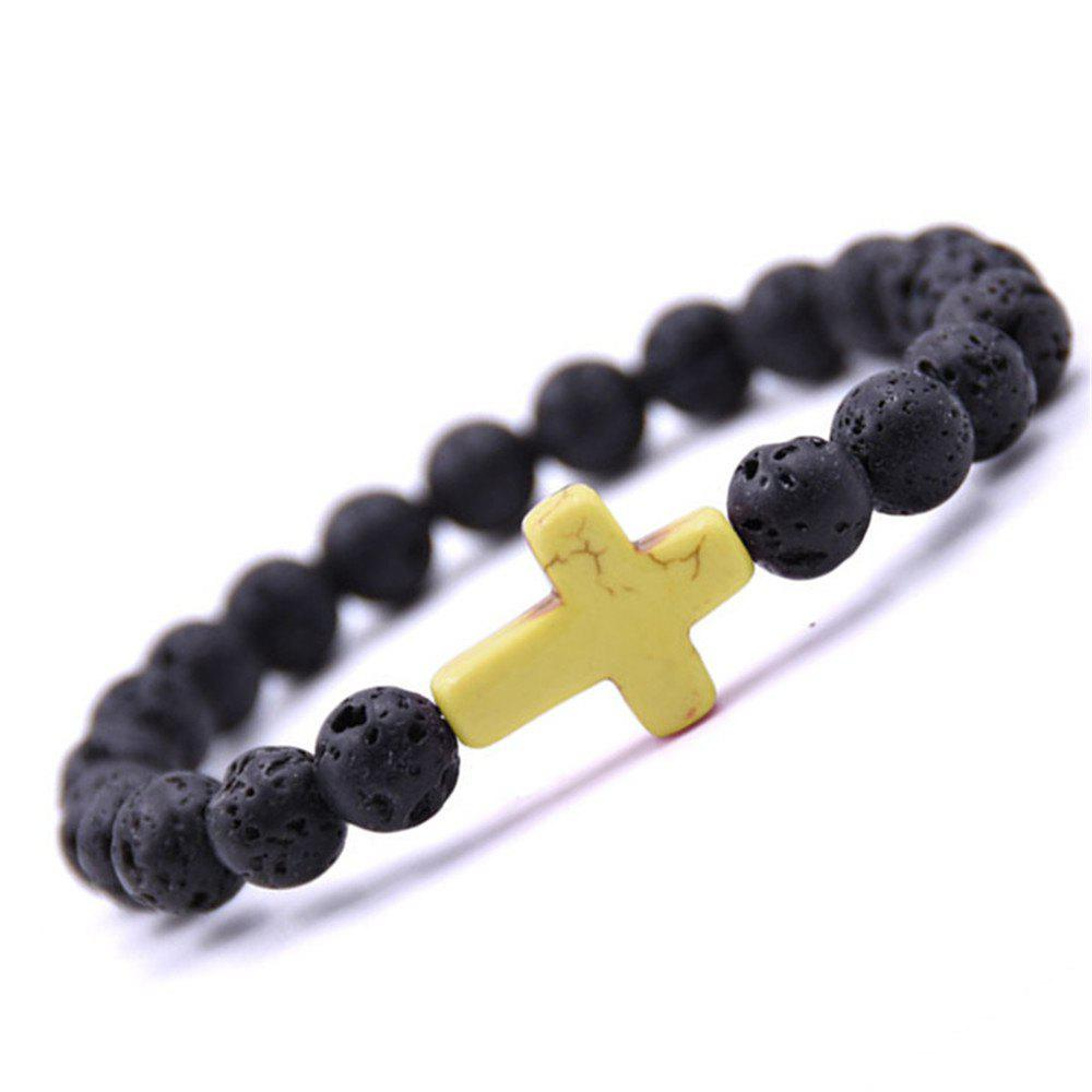 Cheap Fashion Minimalist Cross Turquoise Jewelry Lava Volcano Stone Bracelet Woman