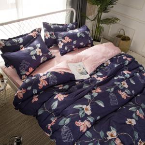 4 Pcs Duvet Cover Set Modern Floral Soft Comfy Sheet Sets -