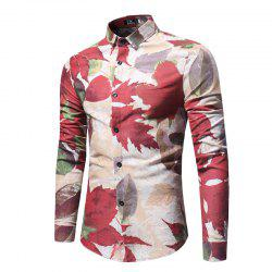 Spring and Autumn Leaf Print Men's Long Sleeve Shirt -