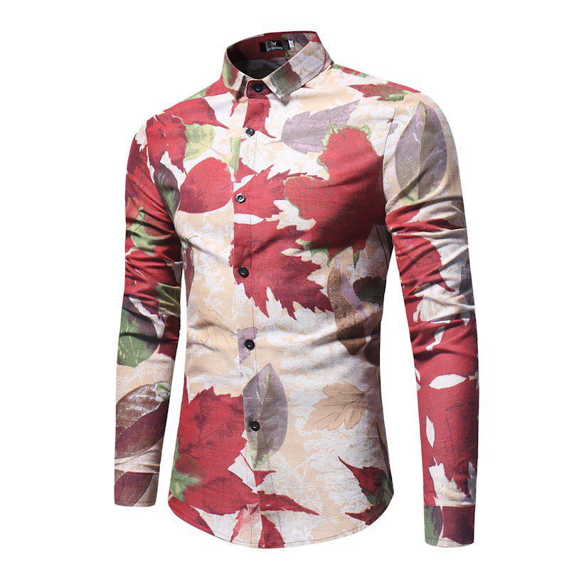 Fashion Spring and Autumn Leaf Print Men's Long Sleeve Shirt