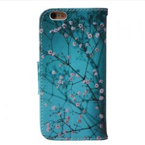 Plum Blossom Pattern Luxury Style PU Leather Mobile Phone Case Flip Cover for iPhone 6 Plus / 6s Plus -