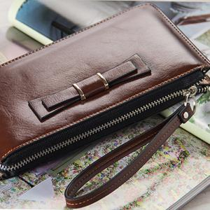 Baellerry Women's Long Large Capacity Bowknot Purse Hand Bag Mobile Phone Package -
