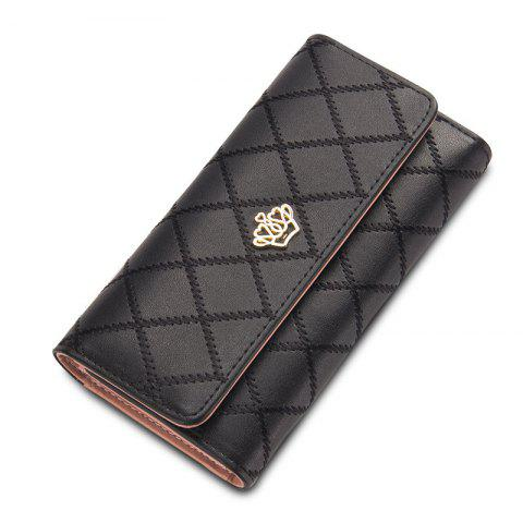 Outfits Baellerry Long Trifold Plaid Crown Purse Embroidered Hand Bag Credit Card Holder