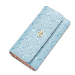 Baellerry Long Trifold Plaid Crown Purse Embroidered Hand Bag Credit Card Holder -
