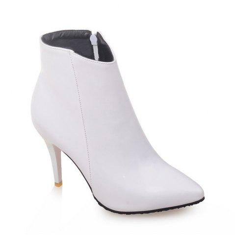 Cheap Women Shoes Zip Booties Stiletto Heel Ankle Boots