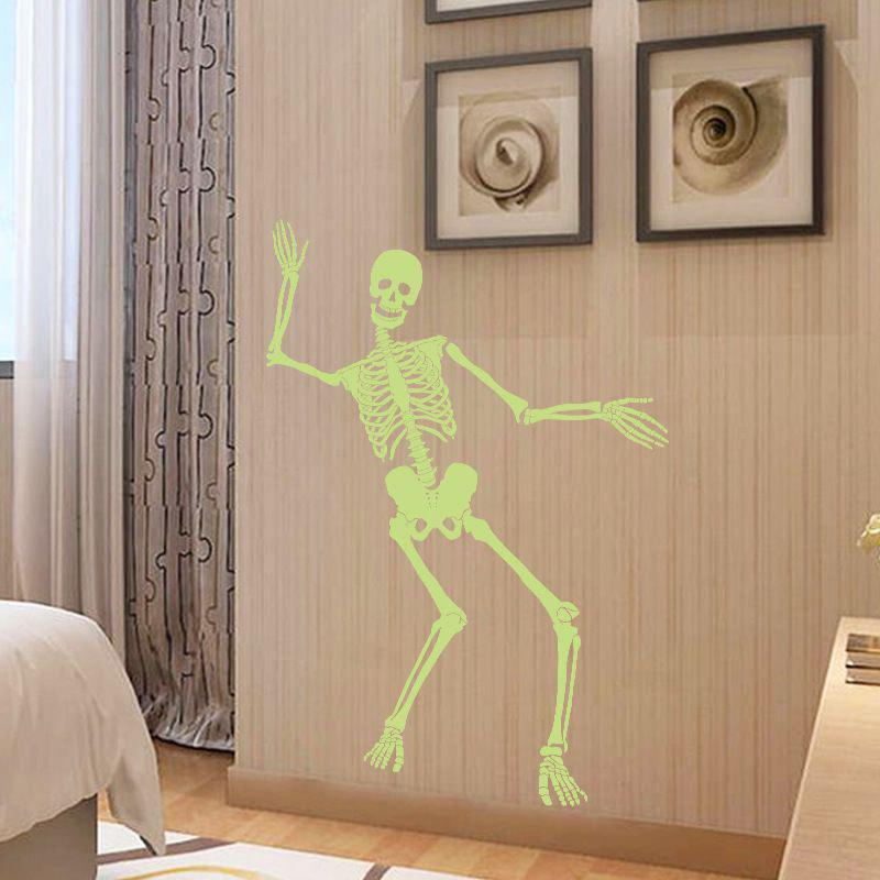 Store Creative Halloween  Stickers Dancing Skull Luminous Sticker Party Skeleton DIY Art Wall Decals Haunted Bar Decoration