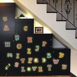 DSU Colorful Sticker 26 English Letters Fluorescent Luminous Poster Wall Decor Wall Stickers for Kids Rooms Home Decoration -