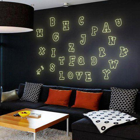 Fancy DSU Colorful Sticker 26 English Letters Fluorescent Luminous Poster Wall Decor Wall Stickers for Kids Rooms Home Decoration