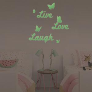 DSU Ameublement Décoratif Live Love Rire Lumineux Sticker Mural Light-Emitting Wallpaper Enfants Chambre Plafond Décor -