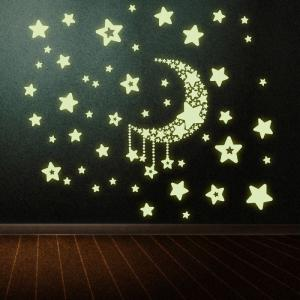 DSU Luminous Stickers Fluorescent Moon and Stars Wall Mural Home Decor Room -