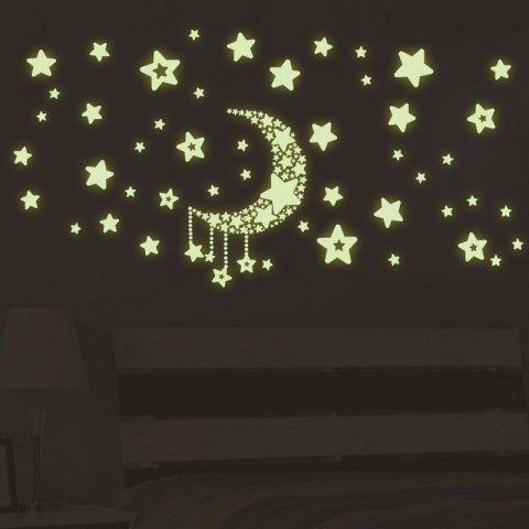 Outfit DSU Luminous Stickers Fluorescent Moon and Stars Wall Mural Home Decor Room