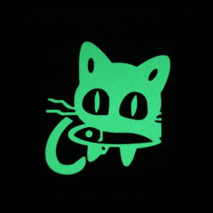 DSU Funny Cartoon Cat Eat Fish Luminous Switch Sticker Kids Rooms DIY Personalized Decoration Wall Decor Sticker Glow Home Decals -