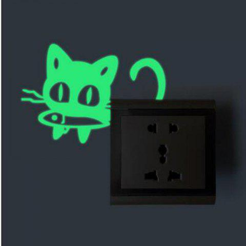 Discount DSU Funny Cartoon Cat Eat Fish Luminous Switch Sticker Kids Rooms DIY Personalized Decoration Wall Decor Sticker Glow Home Decals