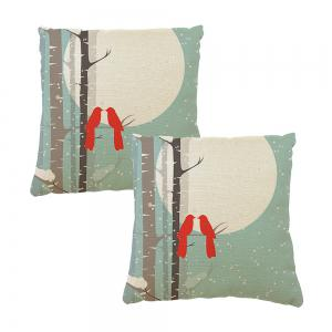 Home Adornment Cushion Cover Branches Birds Month -