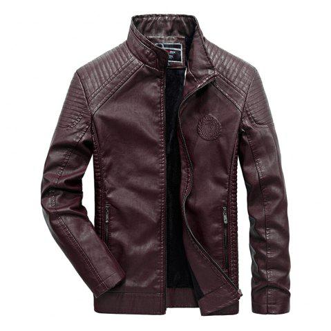 Best Autumn Men Plus Cashmere Leather Collar Motorcycle Suit Jacket