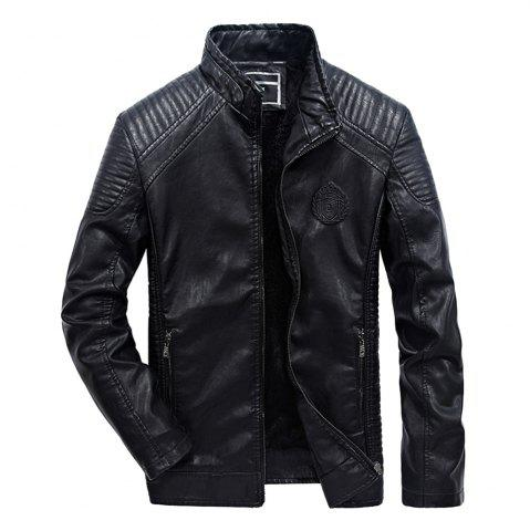 Outfits Autumn Men Plus Cashmere Leather Collar Motorcycle Suit Jacket