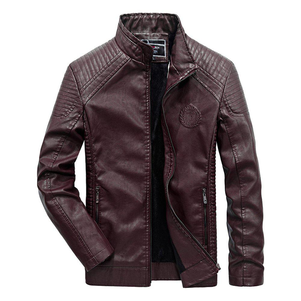 Discount Autumn Men Plus Cashmere Leather Collar Motorcycle Suit Jacket