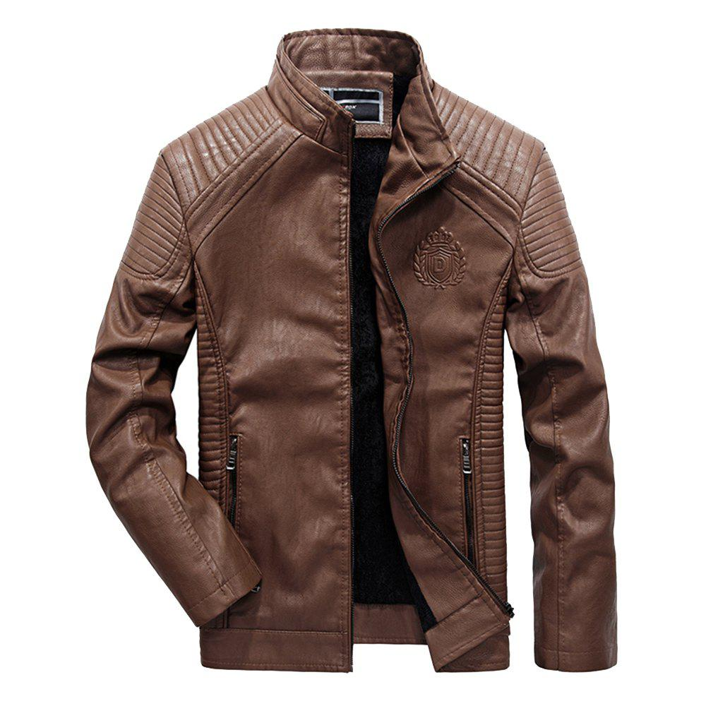 Chic Autumn Men Plus Cashmere Leather Collar Motorcycle Suit Jacket