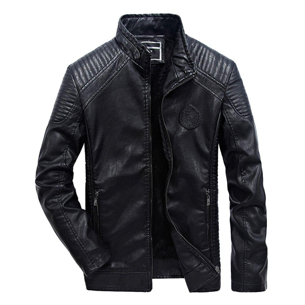 Fancy Autumn Men Plus Cashmere Leather Collar Motorcycle Suit Jacket