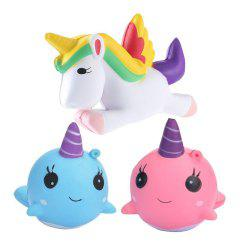 Jumbo Squishy Unicorn Whale Slow Rising Kawaii Cute Cartoon Toys 3PCS -