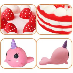 Jumbo Squishy Cake and Whale Scented Slow Rising Kawaii Toys для детей 2PCS -