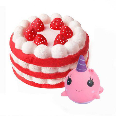Jumbo Squishy Cake and Whale Scented Slow Rising Kawaii Toys для детей 2PCS