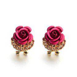 Fashion Korean Cute Five-Pointed Star Sweet Wild Temperament Earrings Rose Simple Stylish Earrings -