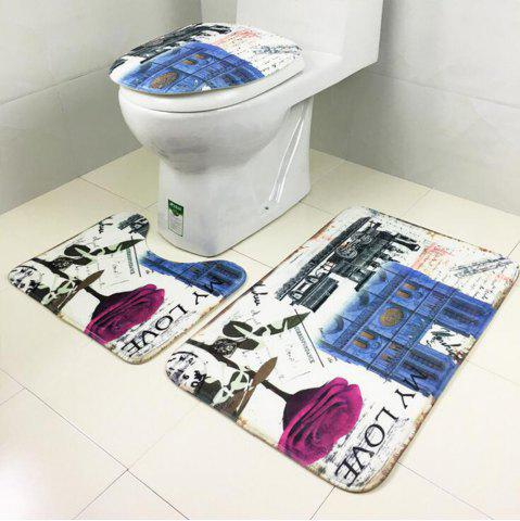 Buy Toilet Carpet Bathroom Mattress Rose Tower Printing 3 Pieces