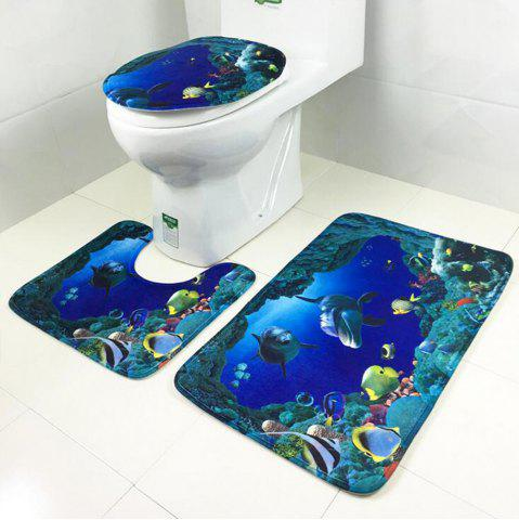 Chic Toilet Carpet Bathroom Mattress Rose Tower Printing 3 Pieces