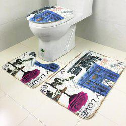 Toilet Carpet Bathroom Mattress Rose Tower Printing 3 Pieces -