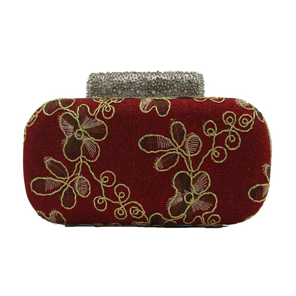 Sale Evening Women Clutch Embroidering Wedding Bridal Handbag Lace Rose Fashion Rhinestone Bag