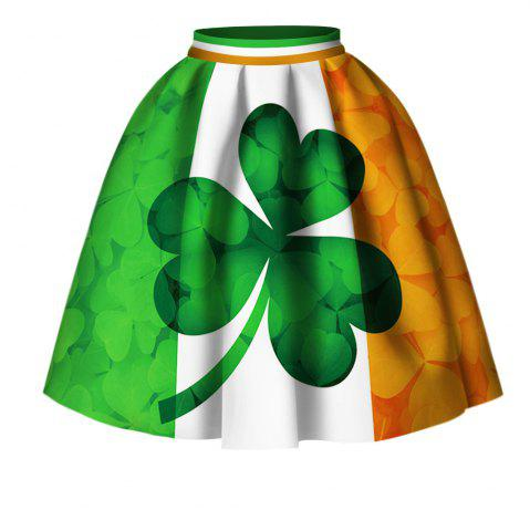 Online Four Leaf Clover Digital Print High Wait Skirt