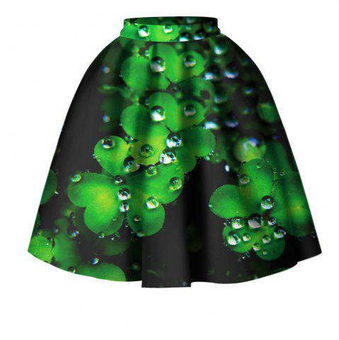 Unique Four Leaf Clover Digital Print High Wait Skirt