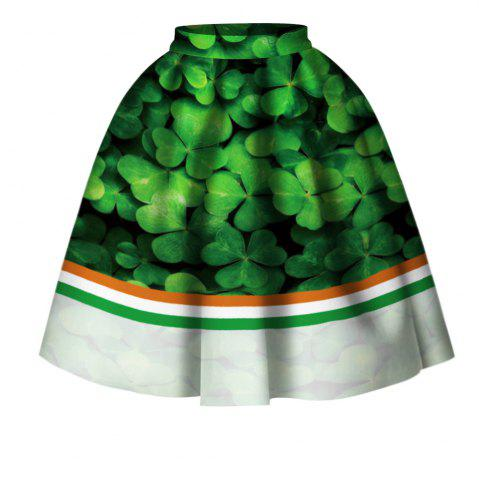 Chic Four Leaf Clover Digital Print High Wait Skirt