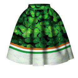 Four Leaf Clover Digital Print High Wait Skirt -