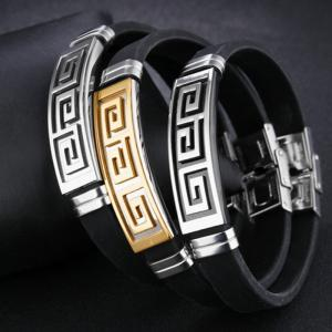 New Men'S Bracelet Stainless Steel Silicone Bangle -
