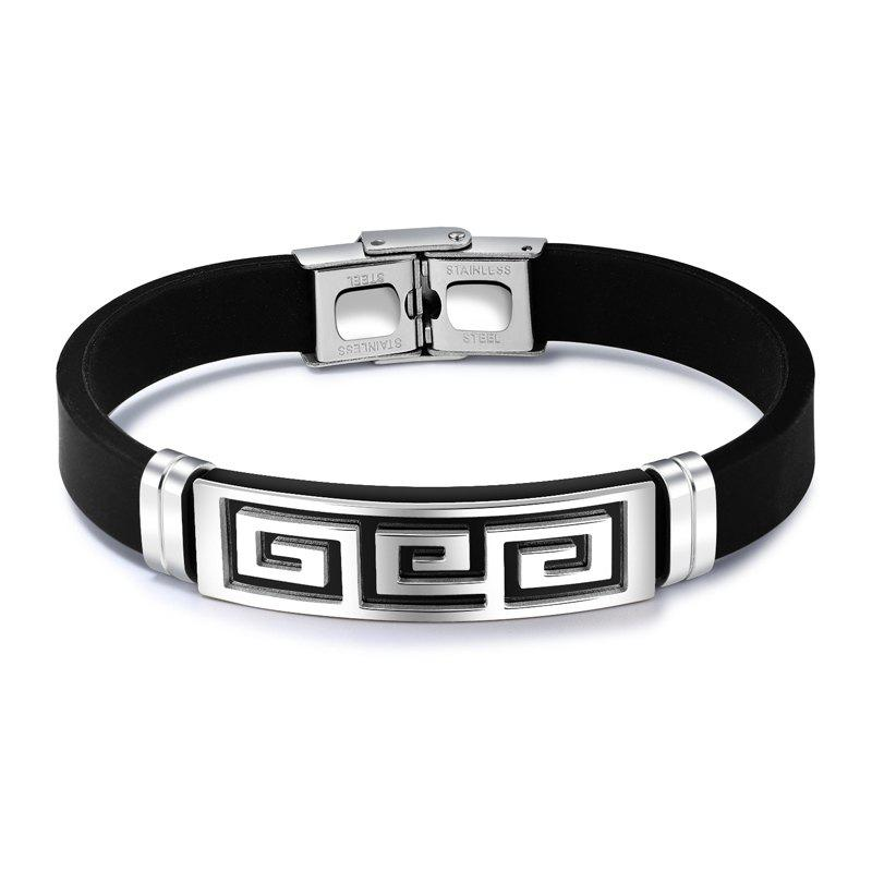 Outfit New Men'S Bracelet Stainless Steel Silicone Bangle