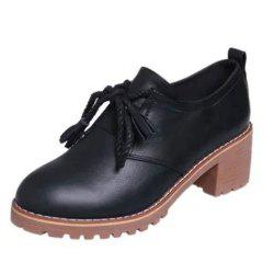 Spring and Summer New Casual Home with Thick Leather Shoes - Black - 40