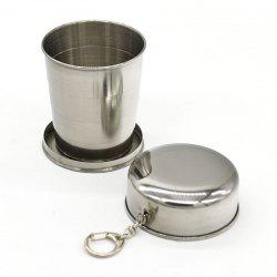 New Collapsible Cup Stainless Steel Portable Folding Metal Telescopic Keychain Cups Mug for Excursion Outdoor Travel -