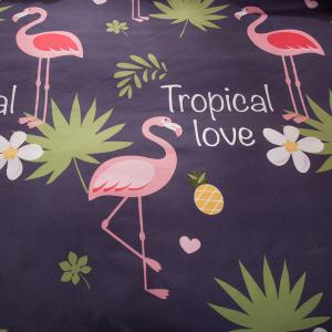 South Cloud 4 Pcs Bedclothes Set Beautiful Flamingo and Leaves Pattern Soft Bed Sheet Set -