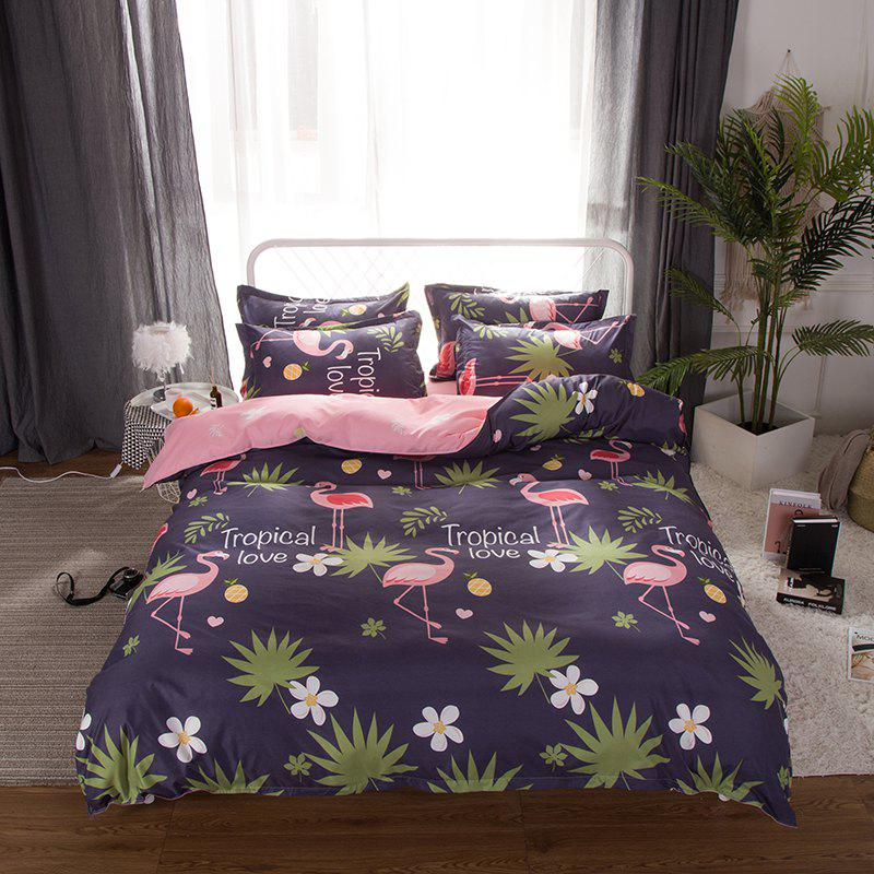 Shop South Cloud 4 Pcs Bedclothes Set Beautiful Flamingo and Leaves Pattern Soft Bed Sheet Set