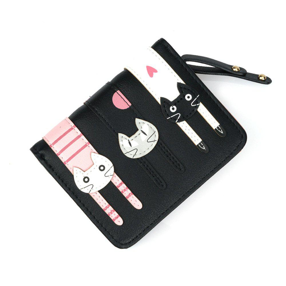 Cheap Short Fold Zipper Fresh Cute Three Cat Wallet