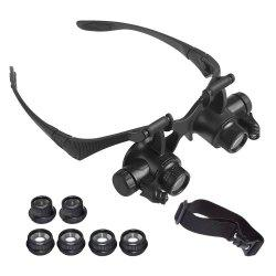 YWXLight Magnifying Glasses With LED Headlamp and Interchangable Headband Jewelry 10X 15X 20X 25X -