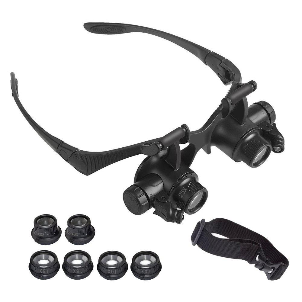 Shop YWXLight Magnifying Glasses With LED Headlamp and Interchangeable Headband Jewelry 10X 15X 20X 25X