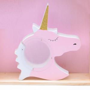 Unicorn Money Box Transparent Wooden Piggy Bank Coin Case Kids Gift Children 's Room Decoration -