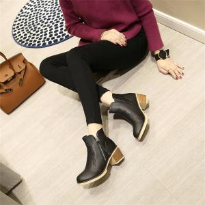 Round Toe Zip Chunky Heel Ankle Boots -