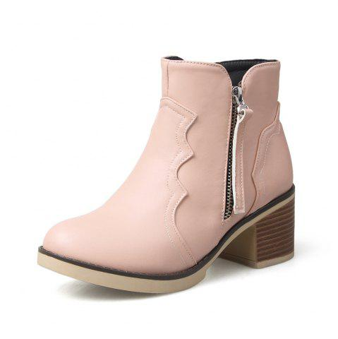 New Round Toe Zip Chunky Heel Ankle Boots