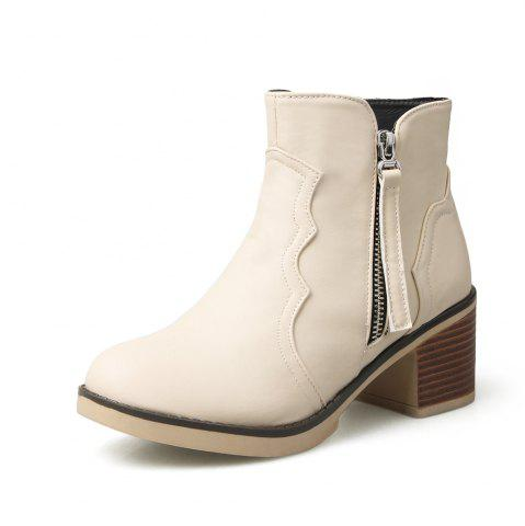 Fancy Round Toe Zip Chunky Heel Ankle Boots