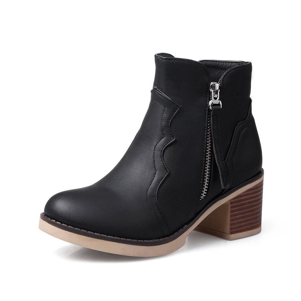 Sale Round Toe Zip Chunky Heel Ankle Boots
