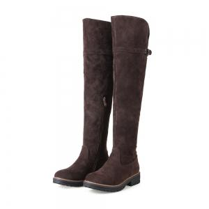 Women Shoes Round Toe Low Heel Riding Boots -